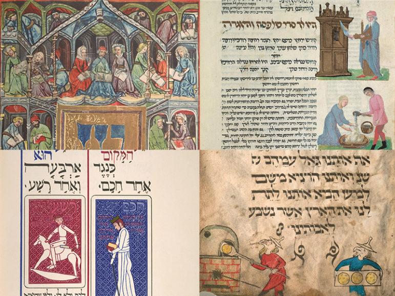 Pages from several rare haggadahs.  Photos courtesy of David M. Rubenstein Rare Book & Manuscript Library, Duke University