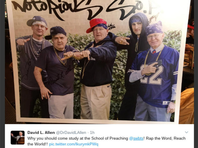 One of the controversial tweets, subsequently deleted from Twitter, featuring photos of five Southwestern Baptist Theological Seminary professors posing as rappers. Screenshot from Twitter