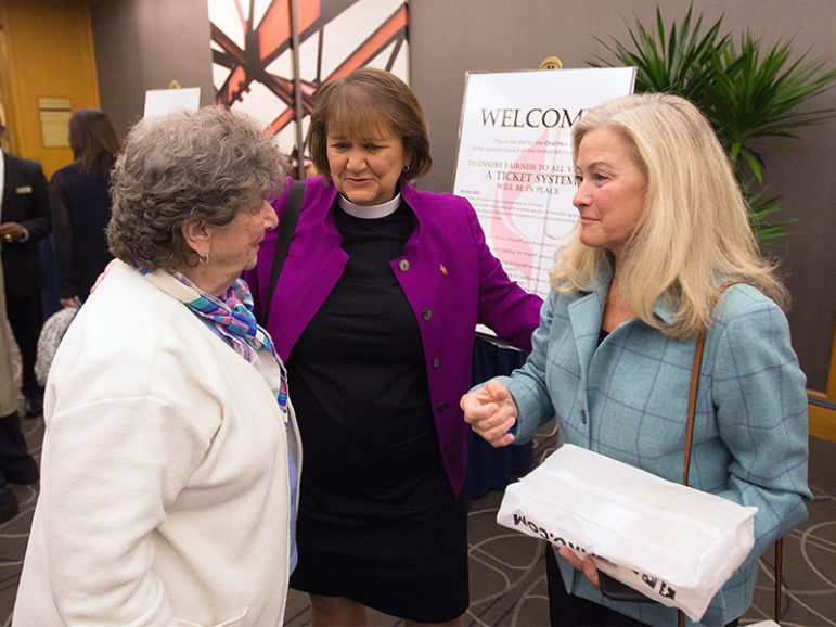 Bishop Karen Oliveto, center, visits with her mother, Nelle Oliveto, left, and her wife, Robin Ridenour, outside the meeting of the United Methodist Judicial Council meeting on April 25, 2017, in Newark, N.J. Photo courtesy of UMNS/Mike DuBose
