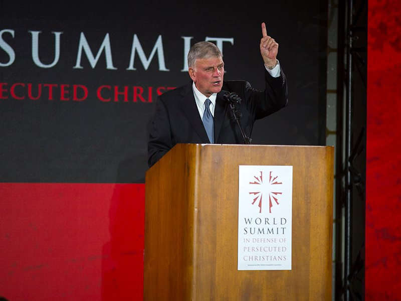Franklin Graham speaks at the World Summit in Defense of Persecuted Christians in Washington, D.C., on May 10, 2007. Photo courtesy of the Billy Graham Evangelistic Association