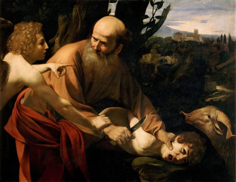 """The 1603 painting """"Sacrifice of Isaac"""" by Caravaggio depicts an angel stopping Abraham from sacrificing his son Isaac as an offering in the book of Genesis.  Image courtesy of Creative Commons"""