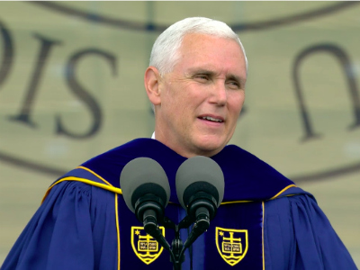 Vice President Mike Pence gives the commencement address May 21, 2017, at the University of Notre Dame in Indiana. Screen grab via nd.edu