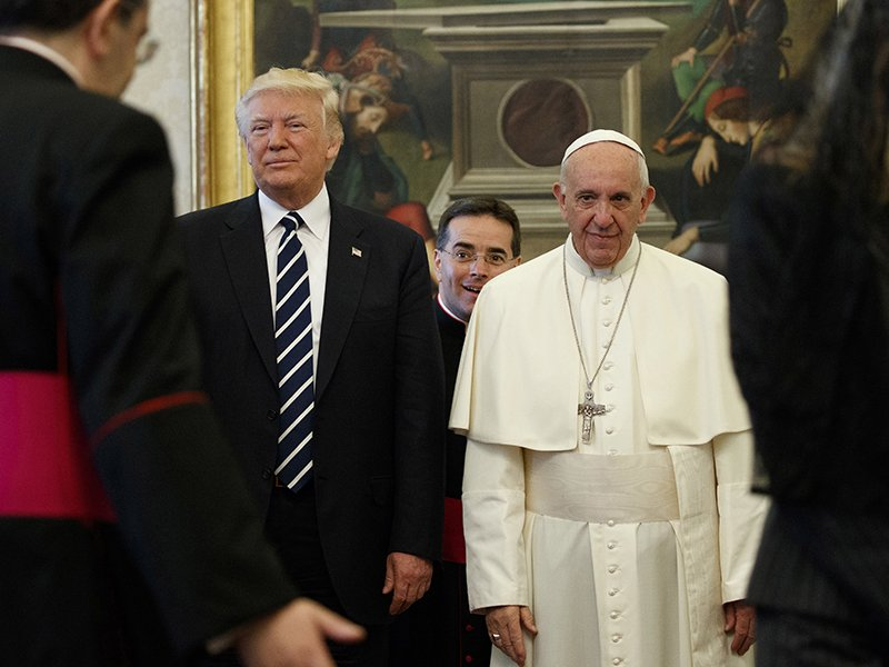 President Trump stands next to Pope Francis during a private audience at the Vatican on May 24, 2017. (AP Photo/Evan Vucci)