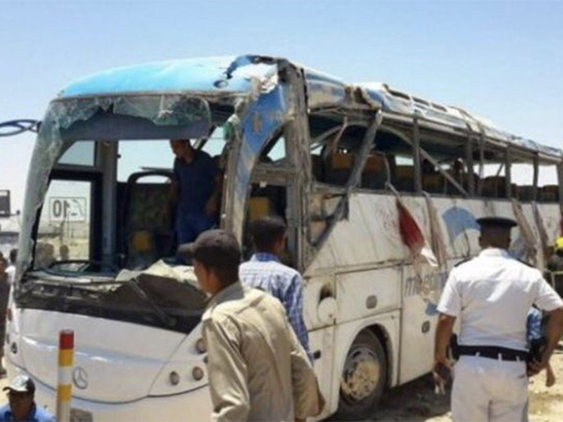Authorities inspect the aftermath of an attack on buses and a truck carrying Coptic Christians in Minya Province, Egypt, on May 26, 2017.  Screenshot from video