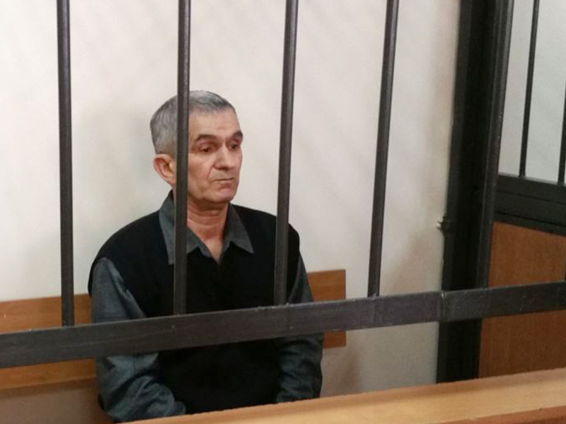 Sixty-one-year-old Teymur Akhmedov, a Jehovah's Witness, on trial in Astana, Kazakhstan, on March 27, 2017.  Photo courtesy of Svetlana Glushkova (Radio Free Europe/Radio Liberty)