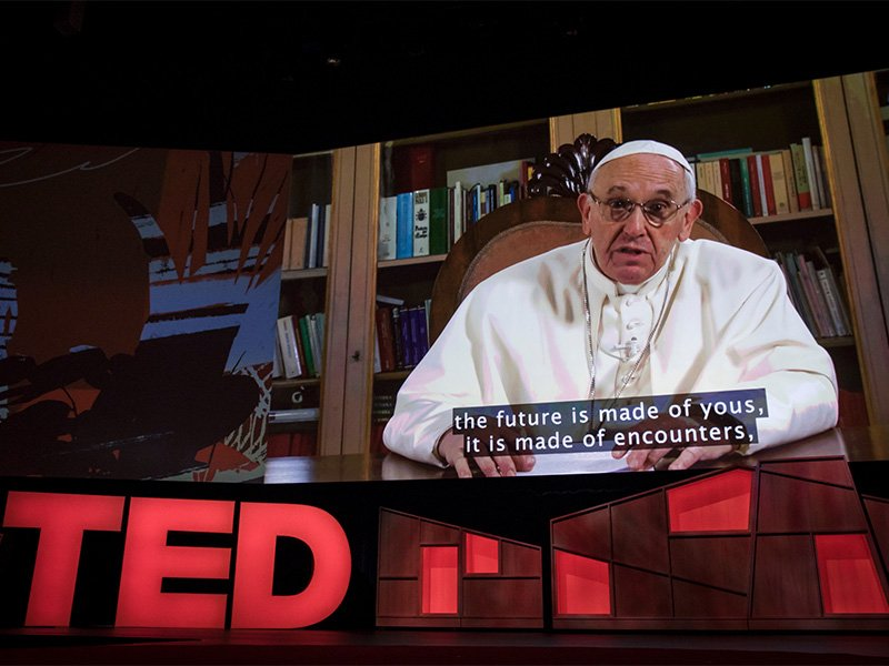 In a video, Pope Francis addressed the TED2017 conference on April 25, 2017, in Vancouver, BC, Canada. Photo coutesy of Creative Commons/Bret Hartman/TED