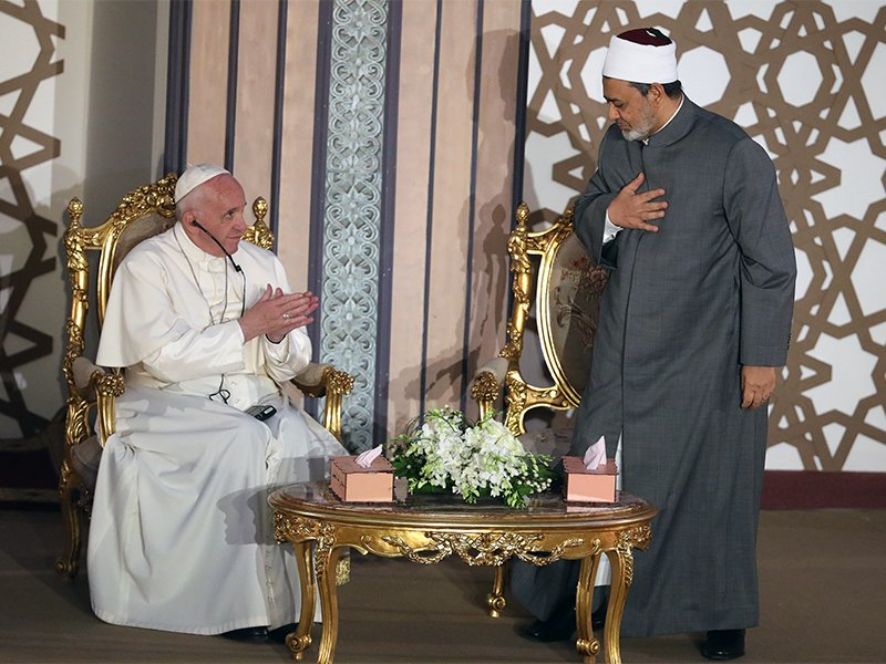 Pope Francis greets Al-Azhar's Grand Imam Ahmed al-Tayeb during a meeting in Cairo on April 28, 2017. Photo courtesy of Reuters/Mohamed Abd El-Ghany *Editors: This photo may only be republished with RNS-POPES-ISLAM, originally transmitted on May 2, 2017.