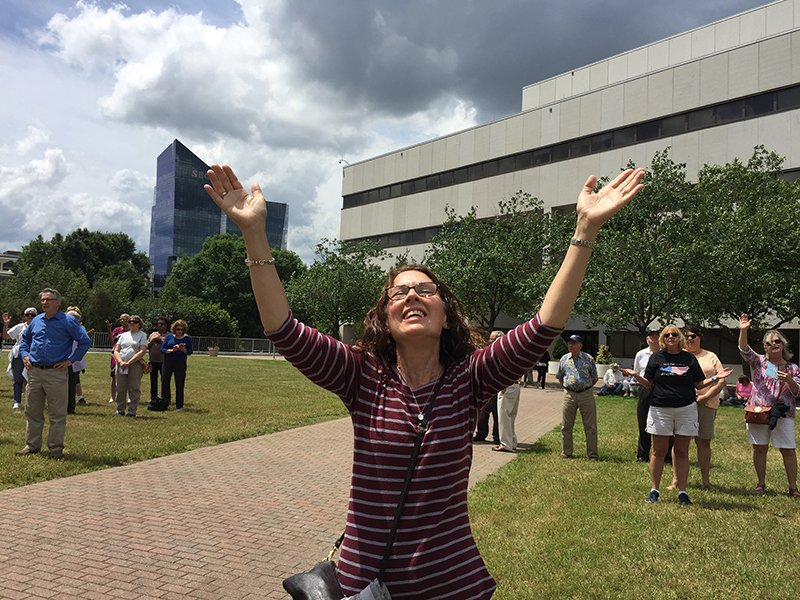 Janis Mosteller of Cary, N.C., prays at a National Day of Prayer gathering in Raleigh, N.C., on May 4, 2017. RNS photo by Yonat Shimron