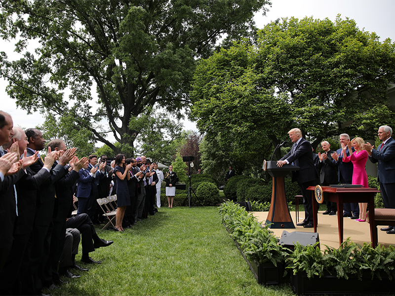 President Trump speaks during a National Day of Prayer event at the Rose Garden of the White House in Washington, D.C., on May 4, 2017. Photo courtesy of Reuters/Carlos Barria