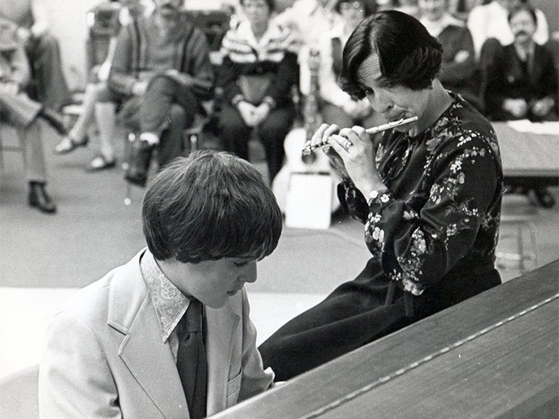Stephen Edwards plays piano during a duet with his mother, Rosalie, during his youth. Photo courtesy of Stephen Edwards