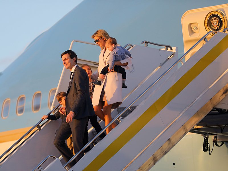 Jared Kushner and Ivanka Trump depart Air Force One with their children in West Palm Beach, Fla., on Feb. 10, 2017. Photo courtesy of Reuters/Carlos Barria