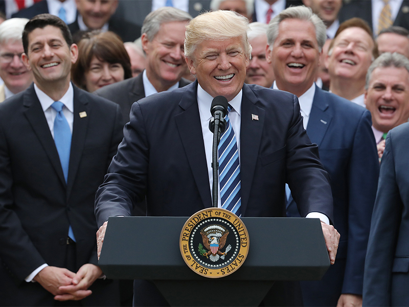 President Trump celebrates with congressional Republicans in the Rose Garden of the White House after the House of Representatives approved the American Health Care Act, to repeal major parts of Obamacare and replace it with the Republican health care plan, in Washington, D.C., on May 4, 2017. Photo courtesy of Reuters/Carlos Barria