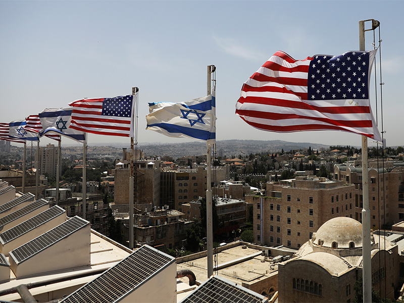 American and Israeli flags flutter in the wind May 17, 2017, atop the roof of Jerusalem's King David Hotel, ahead of President Trump's upcoming visit to Israel. Photo courtesy of Reuters/Ronen Zvulun *Editors: This photo may only be republished with RNS-TRUMP-TRIP, originally transmitted on May 18, 2017.