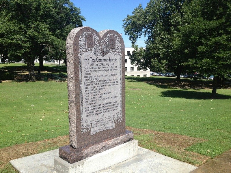 A statue of the Ten Commandments is seen after it was installed June 27, 2017, on the grounds of the state Capitol in Little Rock, Ark. Photo by Steve Barnes/Reuters