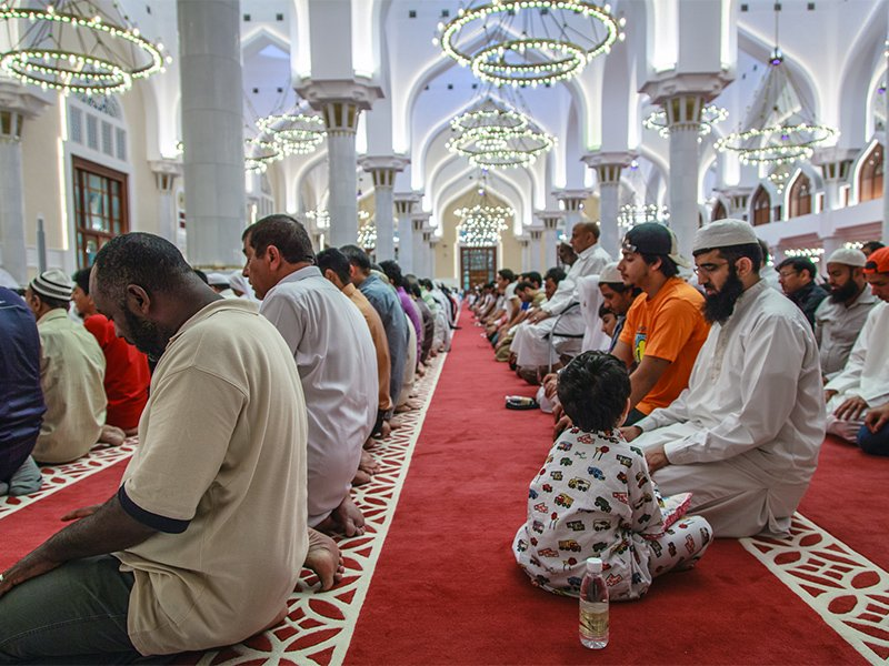 Thousands of worshippers gather in the Imam Muhammad Ibn Abdul Wahab Grand Mosque of Qatar on the 27th night of Ramadan on Aug. 14, 2012. The night is commonly known as Laylat al-Qadr. Photo courtesy of Creative Commons/Omar Chatriwala