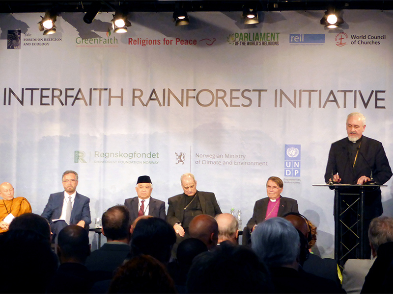 Metropolitan Emmanuel, right, of the Orthodox Church of France gives a speech during a meeting with religious leaders on ways to protect tropical rainforests from threats in Oslo, Norway, on June 19, 2017. Photo courtesy of Reuters/Alister Doyle