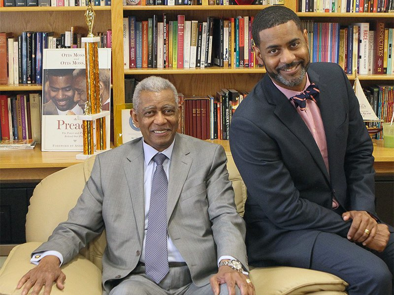 The Rev. Otis Moss Jr., left, and his son, the Rev. Otis Moss III, at Trinity United Church of Christ in Chicago. Photo courtesy of Dawn Stephens