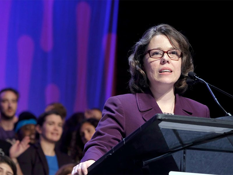 The Rev. Susan Frederick-Gray steps to the podium as the newly elected president of the Unitarian Universalist Association during the 2017 General Assembly on June 24, 2017, in New Orleans. Photo courtesy of UU World/Nancy Pierce
