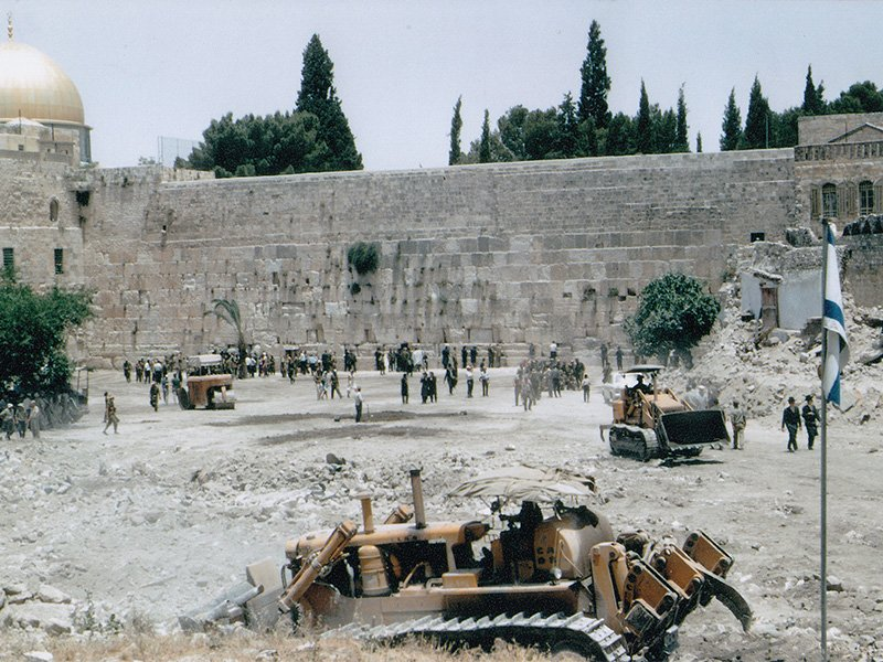 Several days after entering the Old City of Jerusalem in the Six-Day War in 1967, Israel cleared the most sacred Jewish place, the Western Wall of the Temple. Photo courtesy of Creative Commons