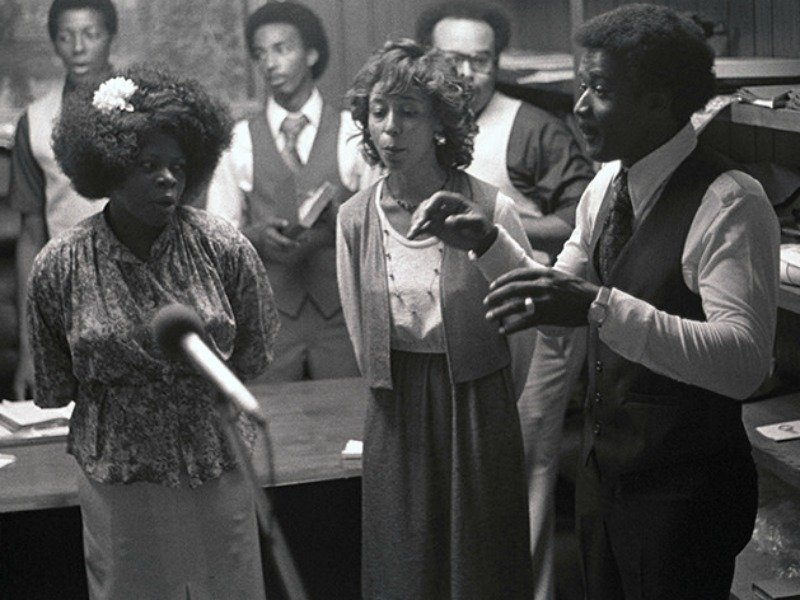 Oak Grove Acapella Singers, a Gospel group of Chester County, Tennessee, being recorded while singing in the office of the preacher at the Oak Grove Church of Christ. Tennessee State Library and Archives, CC BY-NC-ND