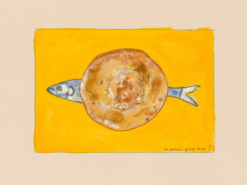 """""""Herring on a Bialy"""" by Mark Podwal.  Image courtesy of Mark Podwal"""