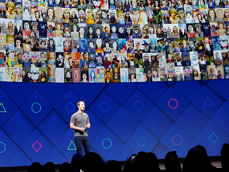 Facebook CEO Mark Zuckerberg speaks on stage during the annual Facebook F8 developers conference in San Jose, Calif., on April 18, 2017. Photo by Stephen Lam/Rueters