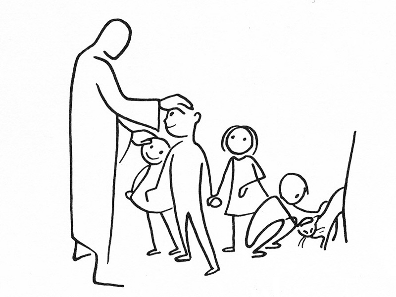 Jesus blesses the children. Illustration courtesy of Annie Vallotton, The Good News Bible