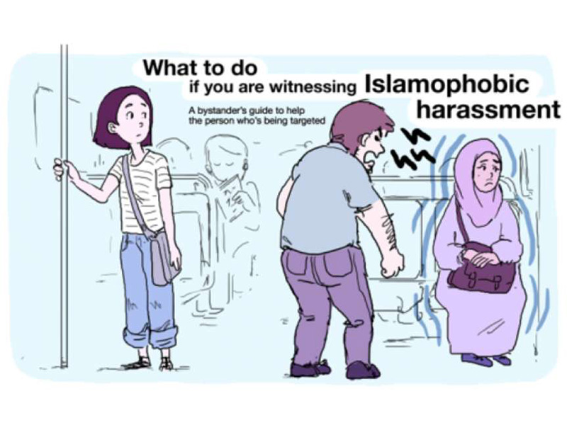 A PSA campaign in Boston aims to urge bystanders to address Islamophobia. Image courtesy of the city of Boston