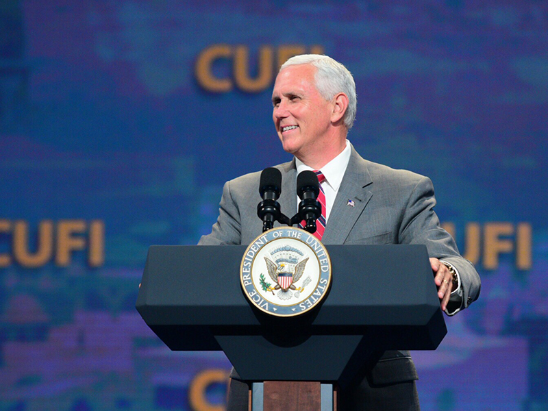 Vice President Mike Pence addresses the annual summit of Christians United for Israel on July 17, 2017. Photo courtesy of Christians United for Israel