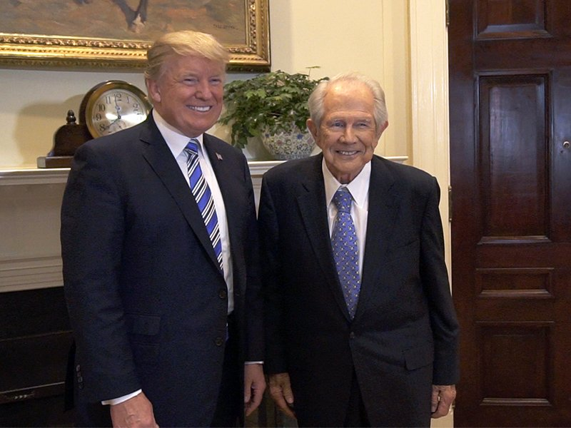 """President Trump and the Rev. Pat Robertson pose for a photo after their interview for """"The 700 Club"""" on CBN.  Photo courtesy of CBN"""