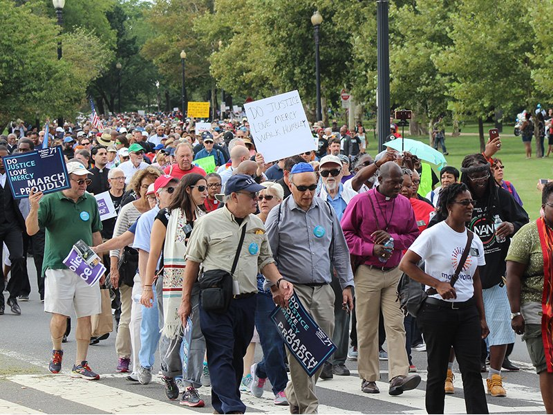 People participate in the One Thousand Ministers March for Justice in Washington, D.C., on Aug. 28, 2017.  RNS photo by Adelle M. Banks