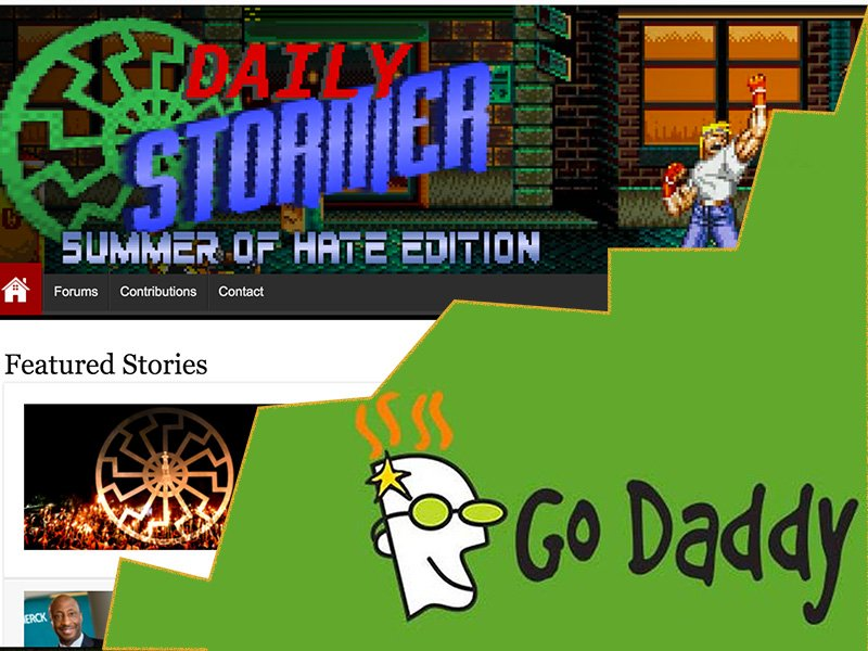 GoDaddy has cut ties with Neo-Nazi website The Daily Stormer.  RNS illustration