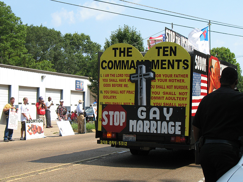A truck with signs protesting gay marriage in a demonstration in Mississippi in 2006. Photo courtesy of Creative Commons/Natalie Maynor