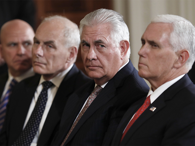 From left, national security adviser H.R. McMaster, White House chief of staff John Kelly, Secretary of State Rex Tillerson and Vice President Mike Pence sit in the front row during a joint news conference with President Trump andFinnish President Sauli Niinisto on Aug. 28, 2017, in the East Room of the White House in Washington. (AP Photo/Carolyn Kaster)