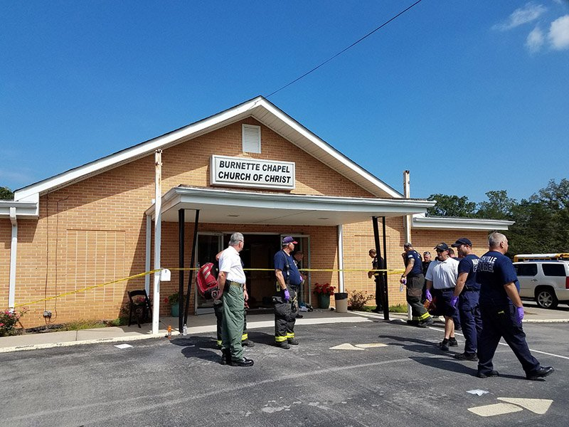 The aftermath of a shooting at the Burnette Chapel Church of Christ in Antioch, Tenn., on Sept. 24, 2017, that left one dead and seven wounded. Photo courtesy of the Metro Nashville Police Department
