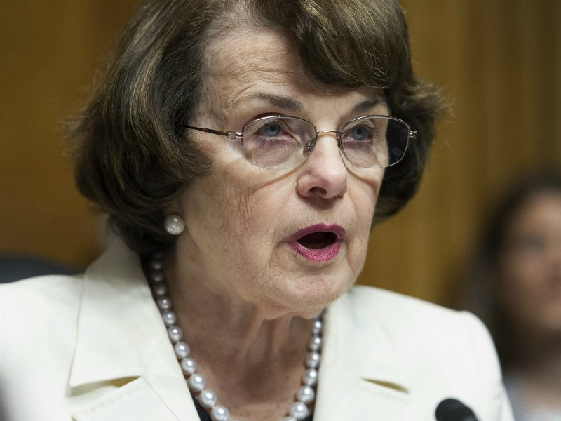 Senate Judiciary Committee ranking member Dianne Feinstein of California makes a statement about President Trump's firing of FBI Director James Comey during a committee hearing on Capitol Hill in Washington on May 10, 2017. (AP Photo/Cliff Owen)