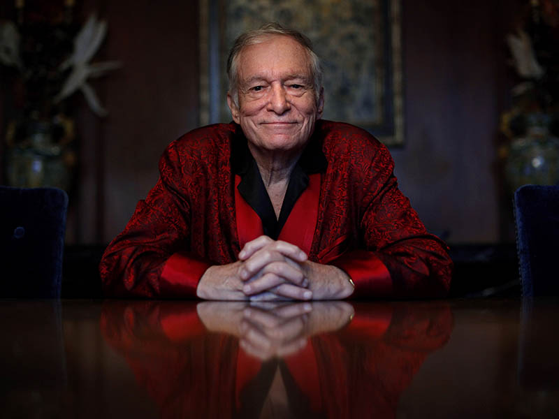 In this Nov. 4, 2010, file photo, Playboy magazine founder Hugh Hefner poses at the Playboy Mansion in Los Angeles. The magazine released a statement saying Hefner, 91, died at his home of natural causes on Wednesday night, Sept. 27, 2017, surrounded by family. AP Photo/Jae C. Hong, File