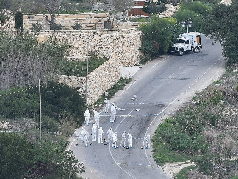 Images from the main road in Bidnija, which leads to Daphne Caruana Galizia's house. Forensic teams, togther with the FBI, are combing the area for evidence in the blast that killed the journalist as she was leaving her home on Oct. 16, 2017.