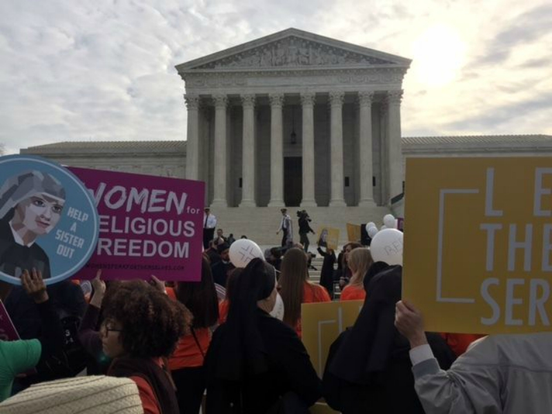 Supporters of religious non-profit organizations rallied outside the Supreme Court during oral arguments in March 2016. Photo: Richard Wolf, USA TODAY