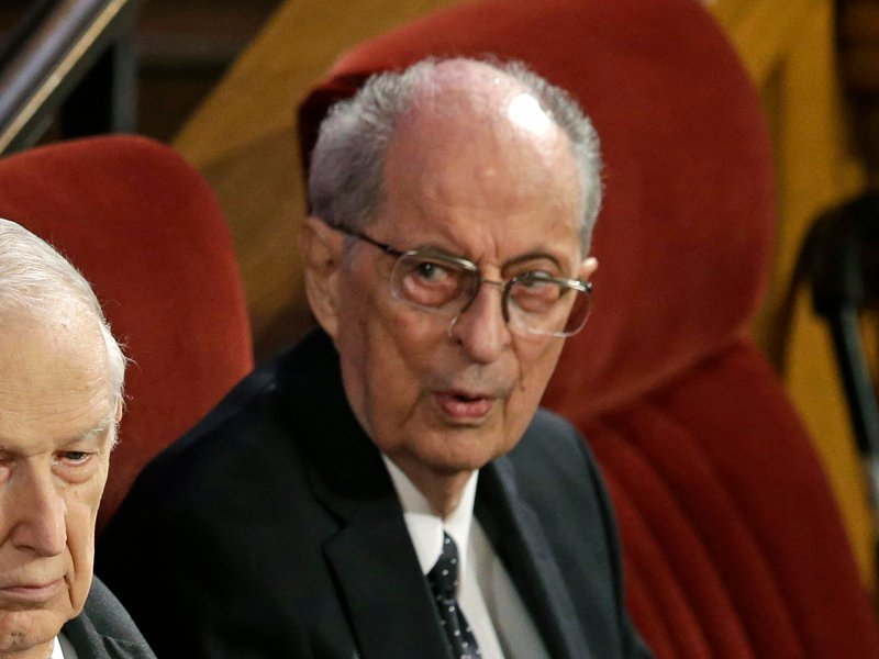 Elder Richard G. Scott, left, and Elder Robert D. Hales, right, attend the memorial service for Mormon leader Boyd K. Packer at the Tabernacle, on Temple Square Friday, July 10, 2015, in Salt Lake City. Packer's death on July 3 at the age of 90 from natural causes left the religion with two openings on a high-level governing body called the Quorum of the Twelve Apostles. (AP Photo/Rick Bowmer)