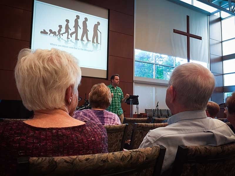 In the Rev. Daniel Pugh's Bible study on Genesis 3 he explained that The Fall can be understood as a coming of age story. RNS photo by Yonat Shimron.
