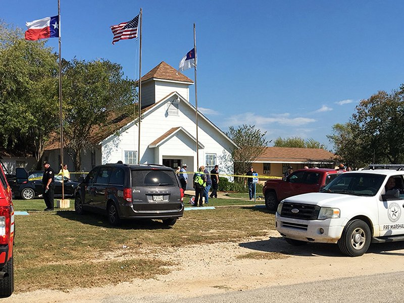 Emergency personnel respond to a fatal shooting at a Baptist church in Sutherland Springs, Texas, on Nov. 5, 2017. (KSAT via AP)