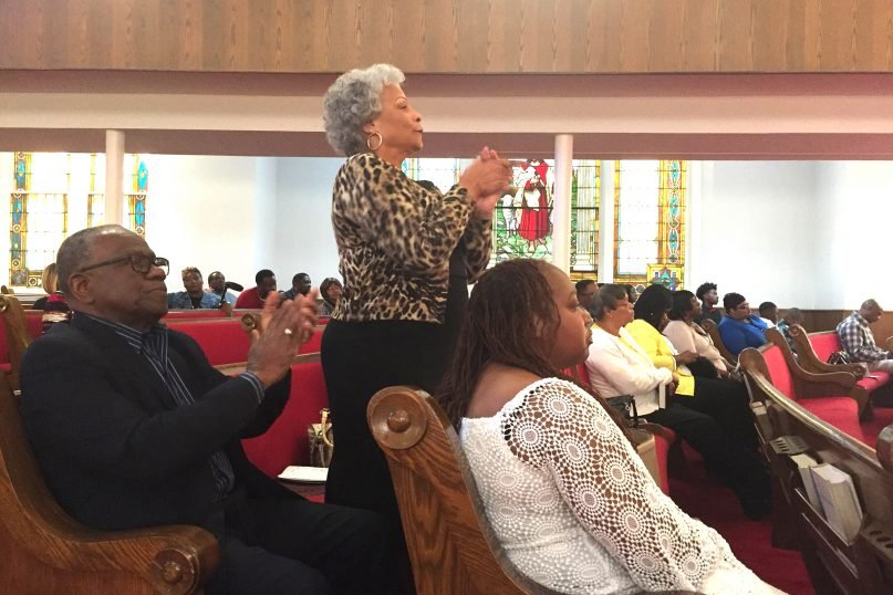 Jackie Askew, a member of 16th Street Baptist Church in Birmingham, Alabama, during Sunday service on Dec. 3, 2017. RNS photo by Yonat Shimron