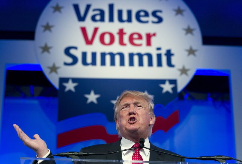 Republican presidential candidate, businessman Donald Trump, speaks during the Values Voter Summit, held by the Family Research Council Action,  Friday, Sept. 25, 2015, in Washington. ( AP Photo/Jose Luis Magana)