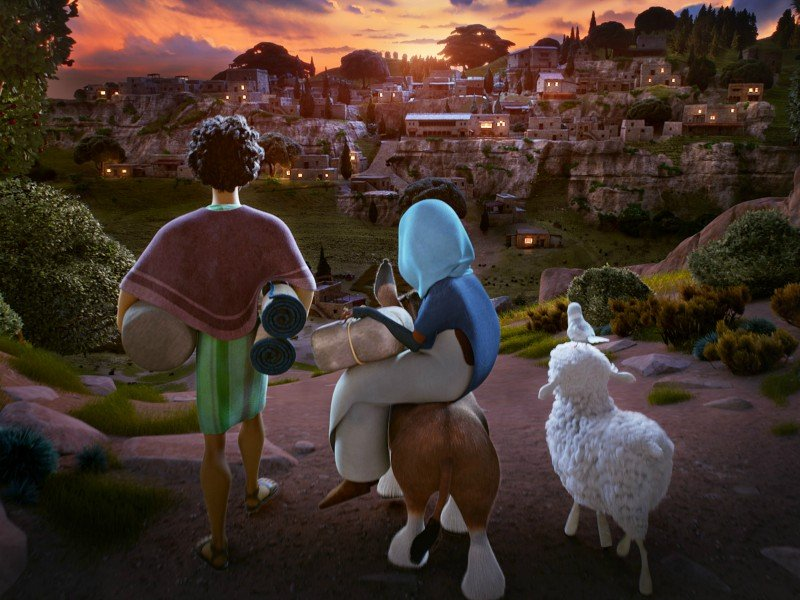 Joseph (voiced by Zachary Levi), Mary (Gina Rodriguez), Bo the donkey (Steven Yeun), Dave the dove (Keegan-Michael Key) and Ruth the sheep (Aidy Bryant) journey to Bethlehem in