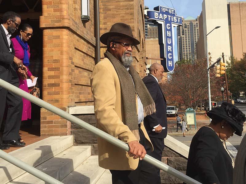Worshippers leave 16th Street Baptist Church in Birmingham, Ala. on Dec. 3, 2017. RNS photo by Yonat Shimron