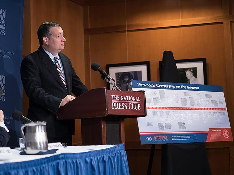 Sen. Ted Cruz, R-Texas, voices his support for the Internet Freedom Initiative at the National Press Club on Dec. 7, 2017. Photo by Bwerani Nettles/NRB