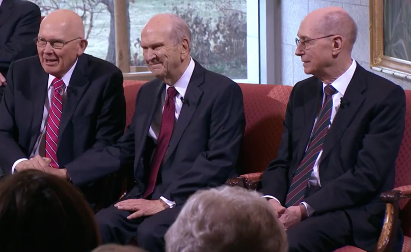 LDS President Russell M. Nelson (center), with First Counselor Dallin H. Oaks (L) and Second Counselor Henry B. Eyring (R). Screen shot of LDS First Presidency News Conference, January 16, 2018.