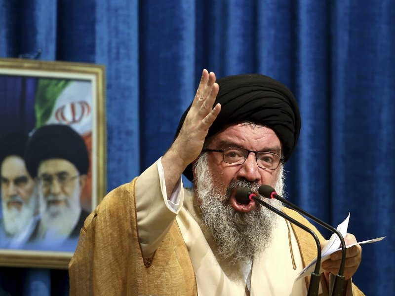Iranian senior cleric Ahmad Khatami blasts the West and the internet during a Friday prayer ceremony in Tehran, Iran, on Jan. 5, 2018. He blamed them for the unrest that followed days of protest in the Islamic Republic over its economy. (AP Photo/Ebrahim Noroozi) (Caption amended by RNS)