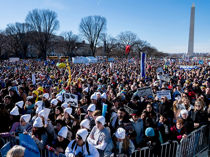 Anti-abortion activists rally on the National Mall in Washington, on Jan. 19, 2018, during the annual March for Life. Thousands of anti-abortion demonstrators gather in Washington for an annual march to protest the Supreme Court's landmark 1973 decision that declared a constitutional right to abortion. (AP Photo/Andrew Harnik)